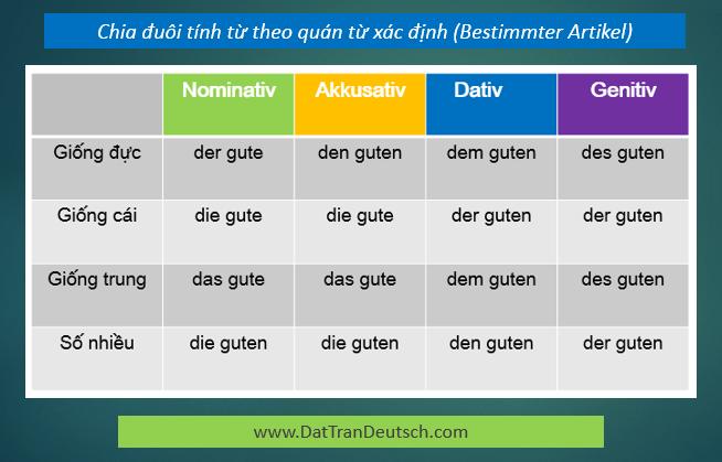 Tiếng Đức cơ bản - Bảng chia đuôi tính từ với quán từ xác định